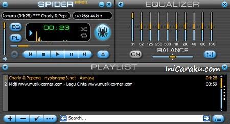 Software Aplikasi Pemutar Musik Gratis Spider Player Pro v.2.5.3 Terbaru