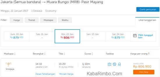 Gambar Kisaran Harga Tiket Pesawat Murah Jakarta Muara Bungo