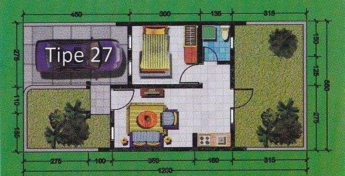 Gambar Model Rumah Tipe 27