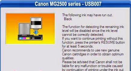 Gambar Kode Error Printer Canon MG2570 USB007 Setelah Isi Ulang Tinta Cartridge
