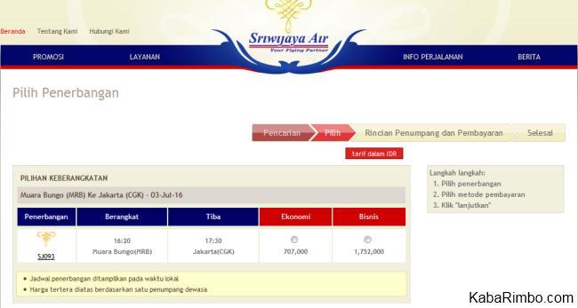 Gambar Jadwal dan Harga Tiket Pesawat Sriwijaya Air di Bandara Muara Bungo